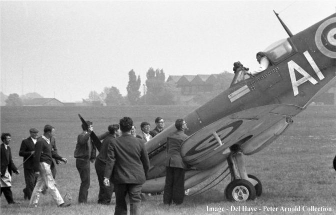5-SM411-Battle-of-Britain-film-North-Weald-c.May-1968-Skipper-Robert-Shaw-just-a-bit-too-fierce-with-the-brakes