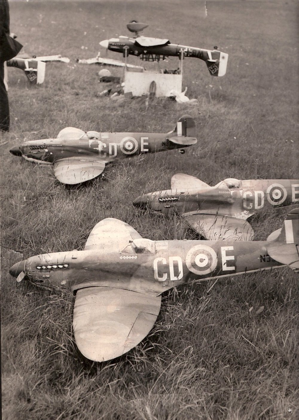 """Models_being_prepared_to_be_flown_in_the_1966_film_""""The_Battle_of_Britain""""_at_RAF_Duxford."""